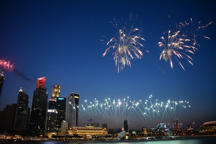 vuurwerk Marina Bay Sands Singapore