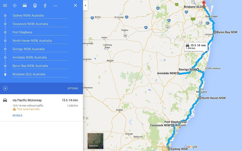 route van Sydney naar Brisbane