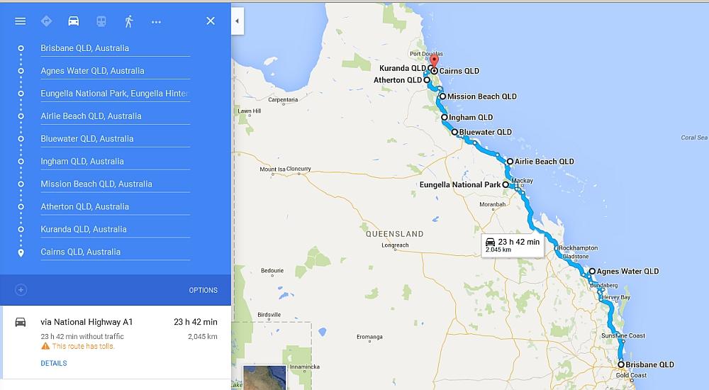 route van Brisbane naar Daintree