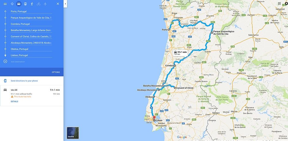 routekaart werelderfgoed in Portugal
