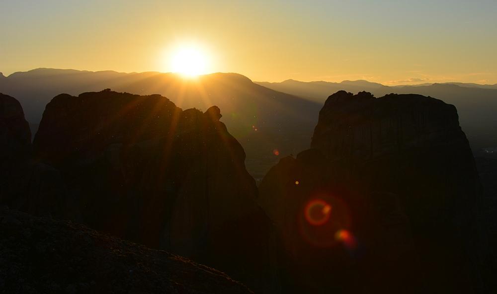 Meteora zonsondergang
