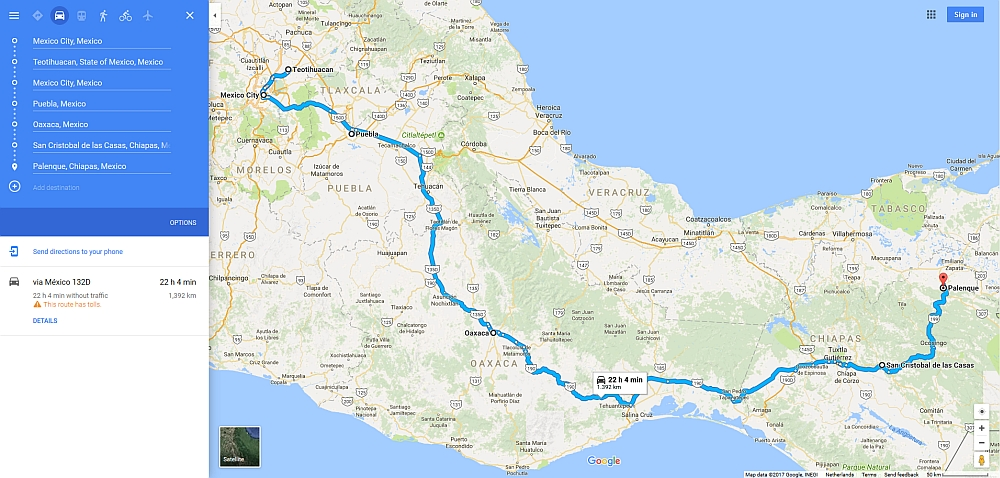 route door Mexico met de bus