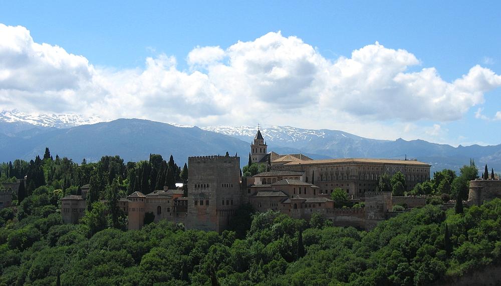 Granada, Alhambra uitzicht Sierra Nevada