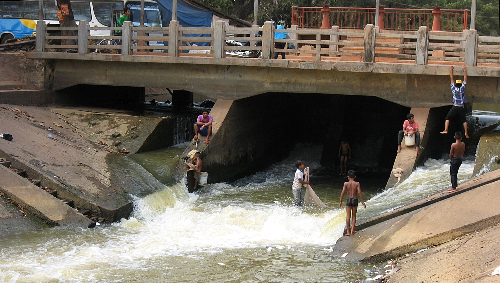 vissen in de rivier Cambodja