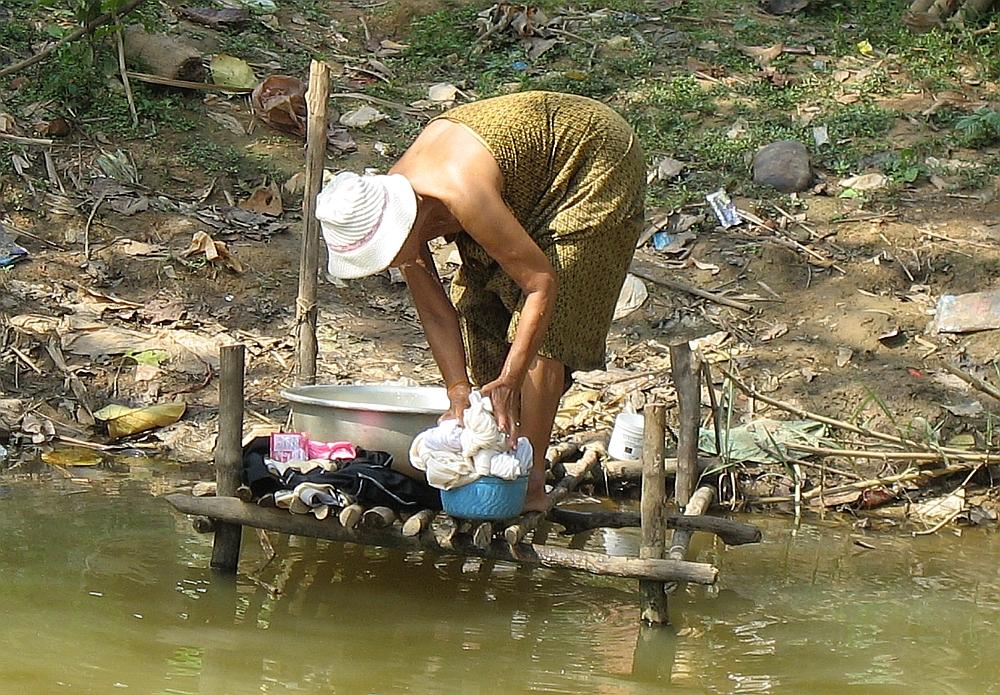 wassen platteland van Cambodja