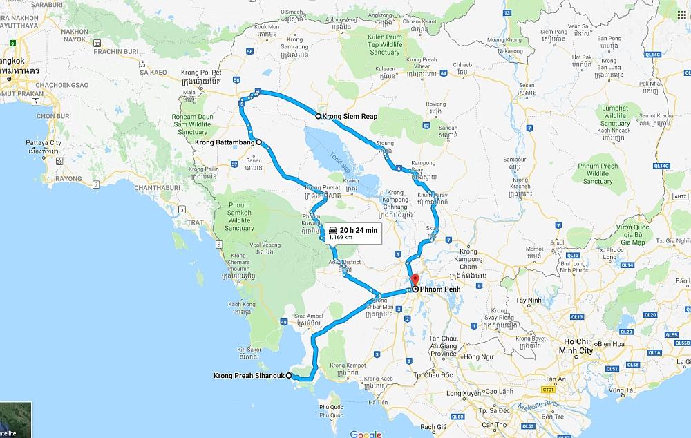 route door Cambodja met het OV