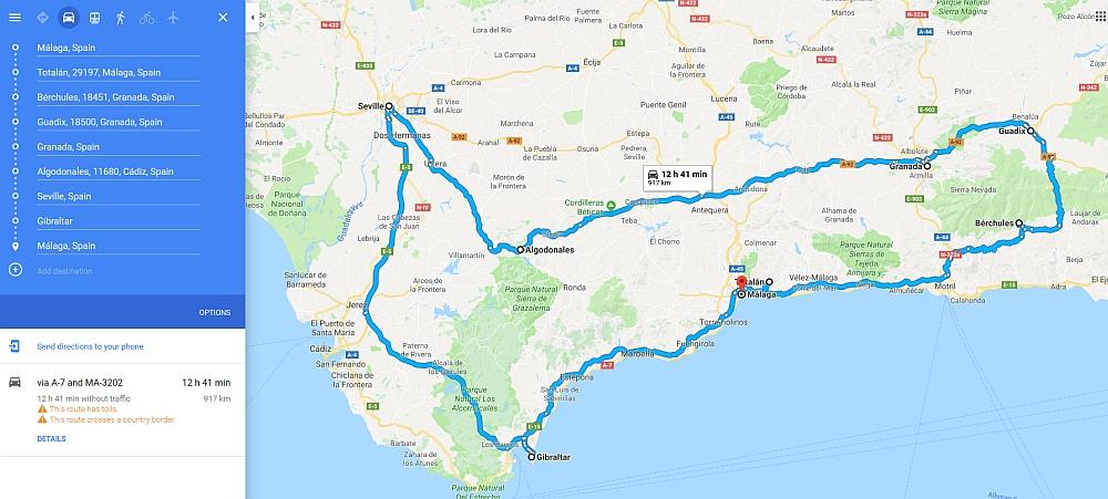 route van een rondreis door Andalusië