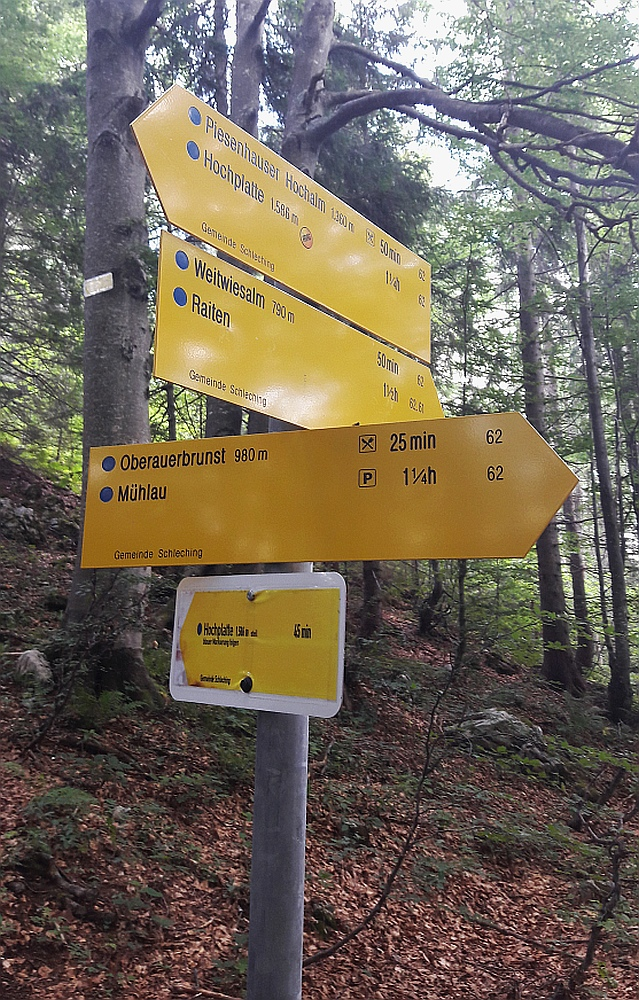 bergwandeling naar Piesenhausener Hochalm en Hochplatte routebord