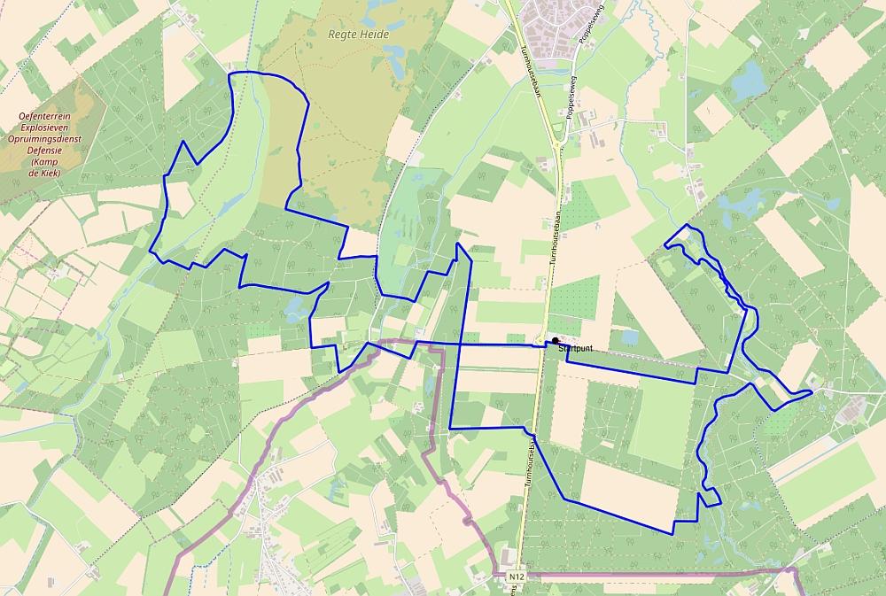 kaart bos en vennenwandeling bij Goirle