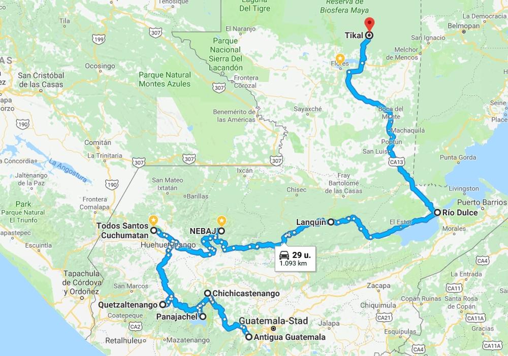route door Guatemala langs de hoogtepunten