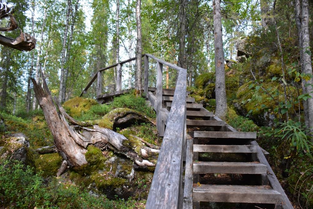 Wandelen in Finland trap in Nationaal Park Oulanka