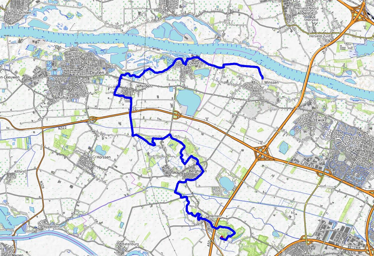 kaart Walk of Wisdom Hernen naar Winssen