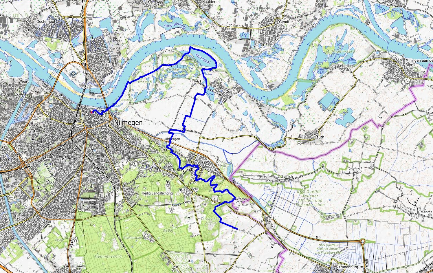 kaart Walk of Wisdom Nijmegen naar Noord Groesbeek