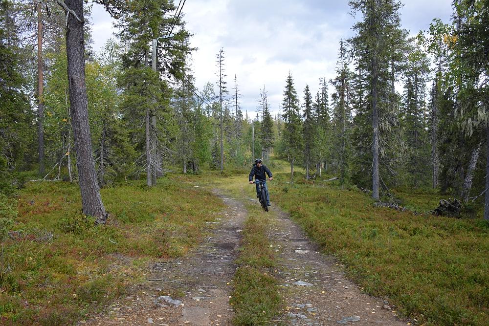 met de elektrische mountainbike door de bossen van Finland