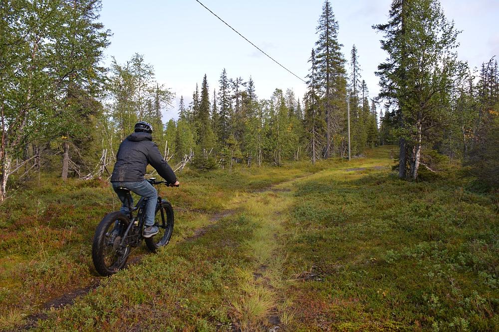 op de elektrische mountainbike door het bos in Finland