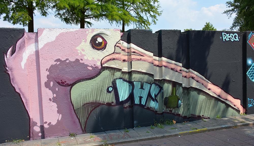 streetart in Eindhoven Berenkuil pelikaan