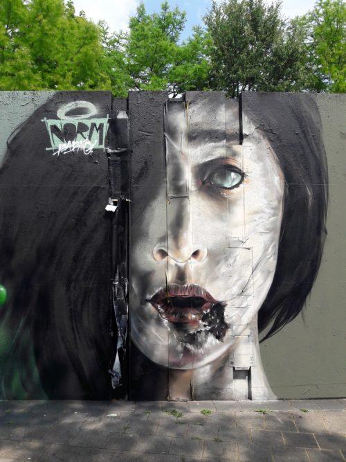 streetart in Eindhoven gezicht Berenkuil