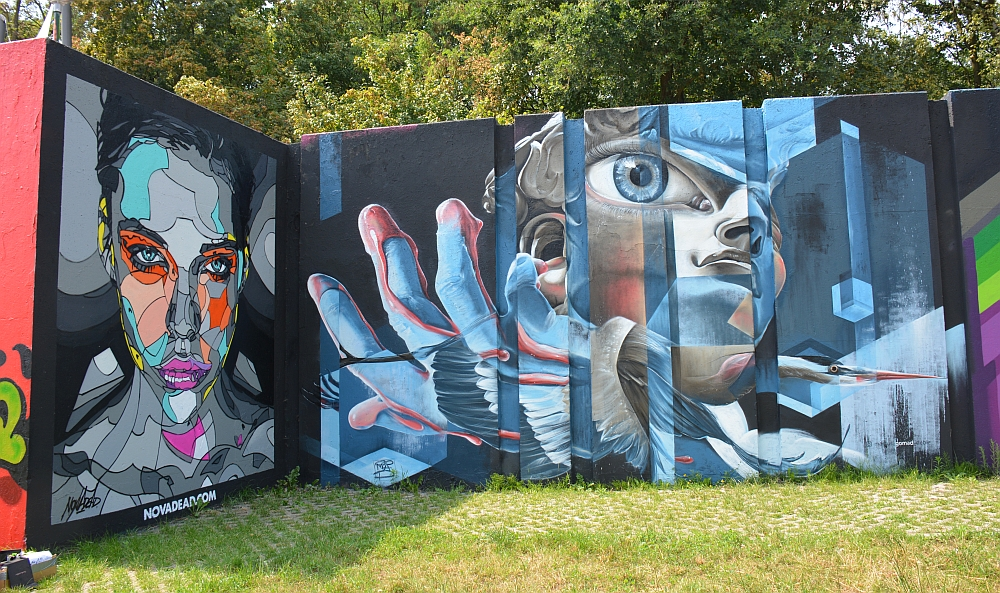 streetart in Eindhoven muur Berenkuil