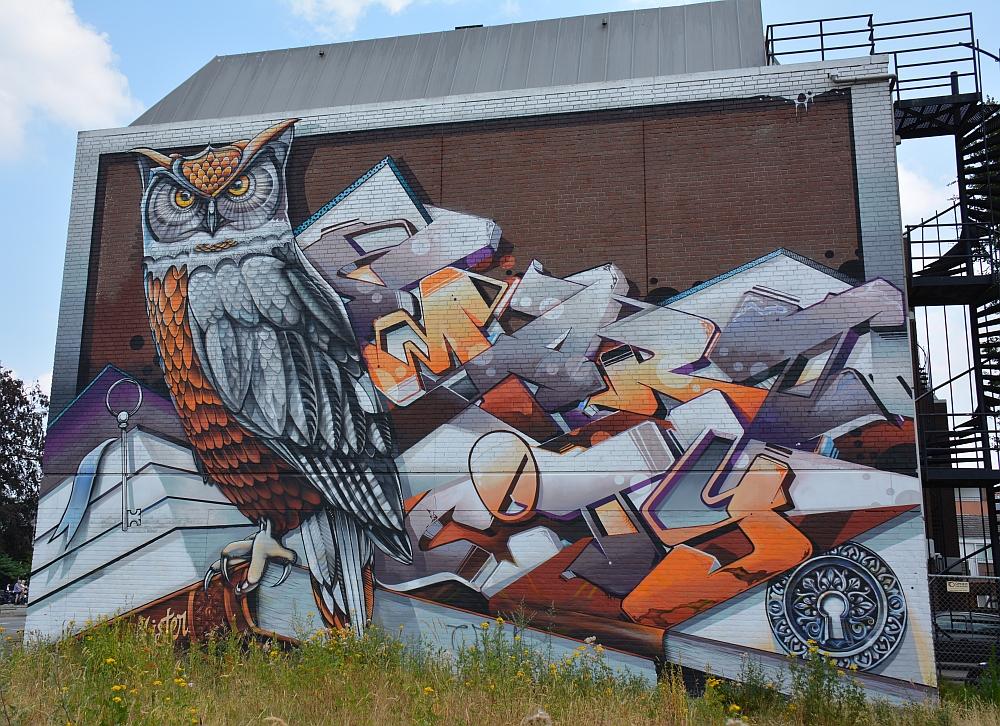 streetart in Eindhoven uil Vincent Huibers Kronehoefstraat