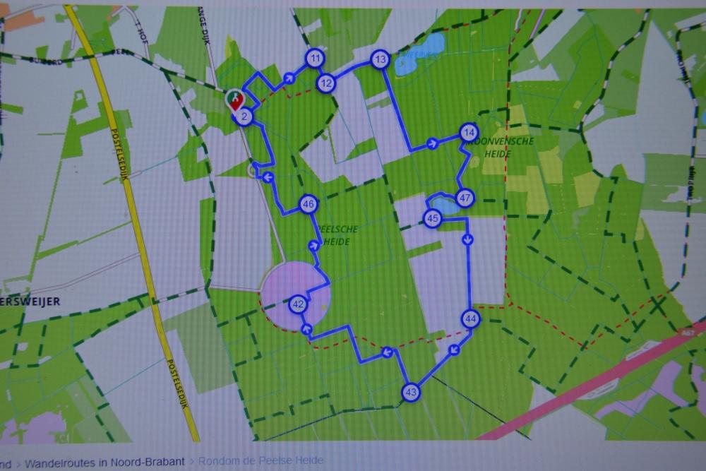 wandelen rond de Peelse heide knooppunten kaartje
