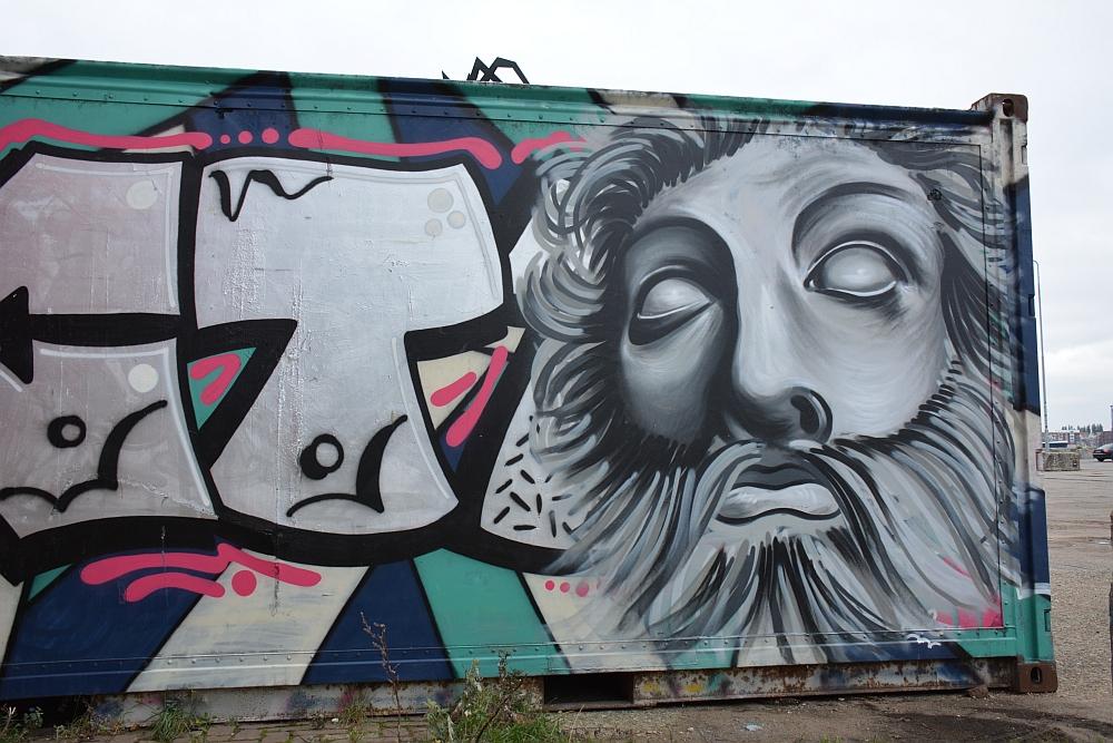 Container met Street Art in Amsterdam NSDM Werf