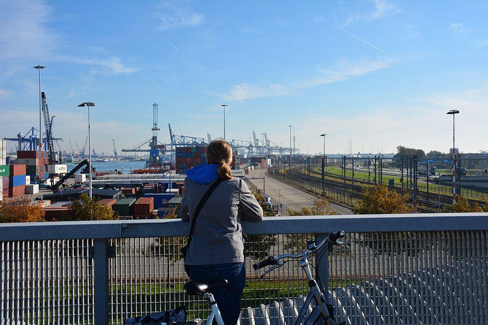 Maas en Vestingroute IJsselmonde uitzicht op de havens van Rotterdam