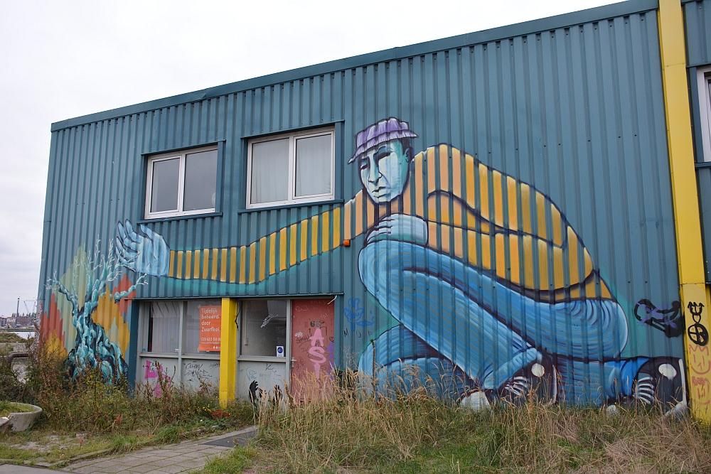 Street Art in Amsterdam NSDM Werf gebouw met groot werk