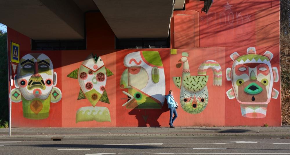 Street Art Heerlenkip met rijst van Finos op Groene Boord