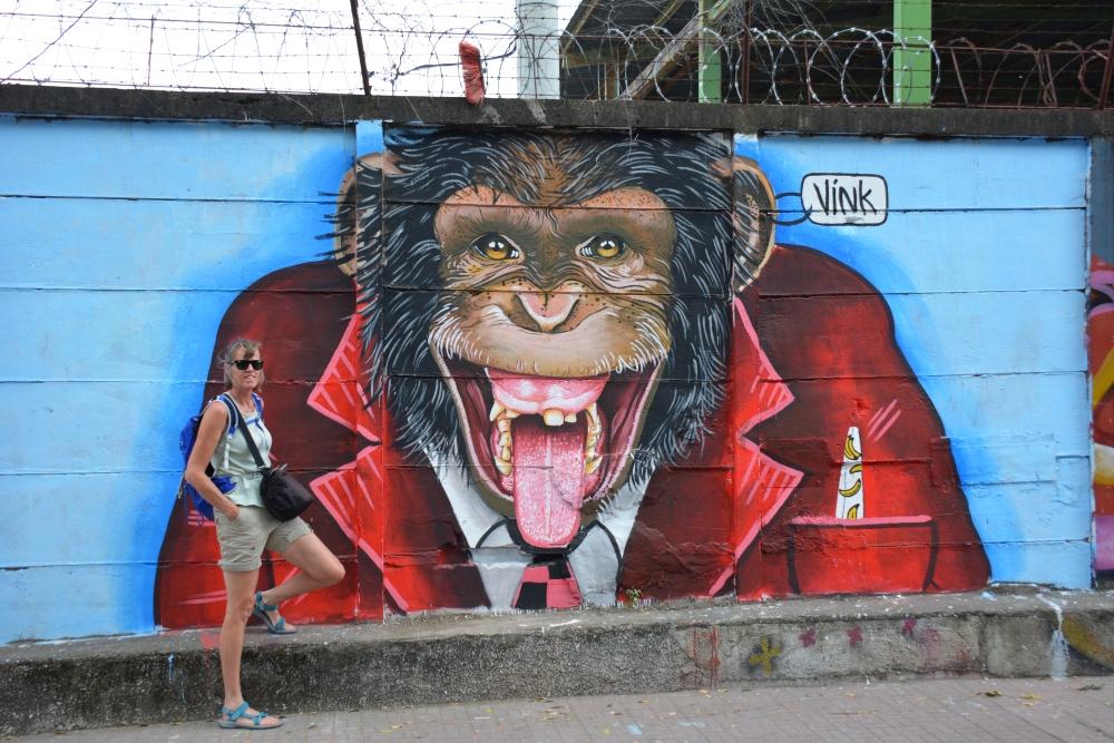 Streetart aap van Vink Esteli Nicaragua