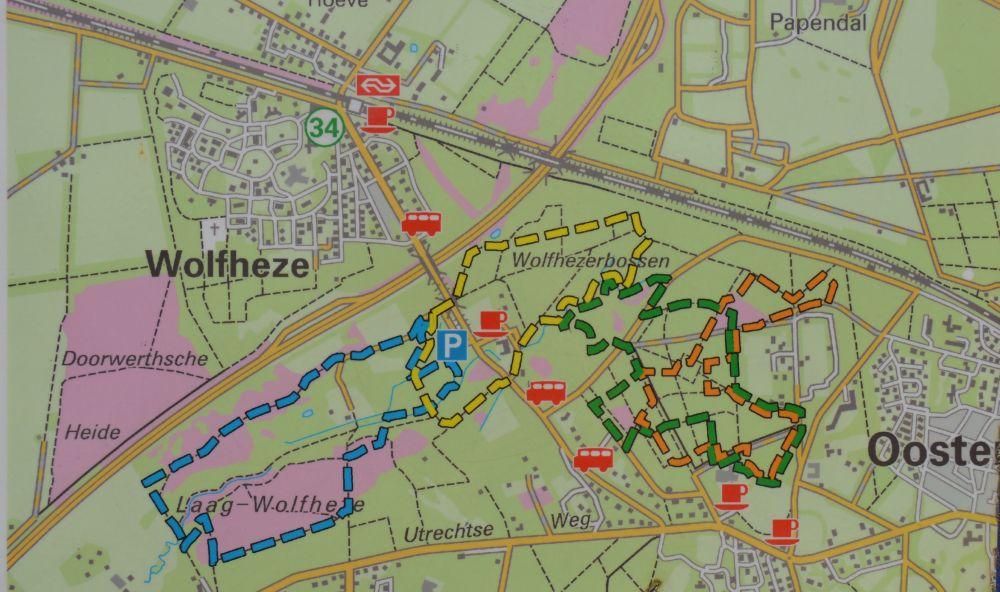 bord wandelroute Wolfheze langs de heide en de Wodanseiken