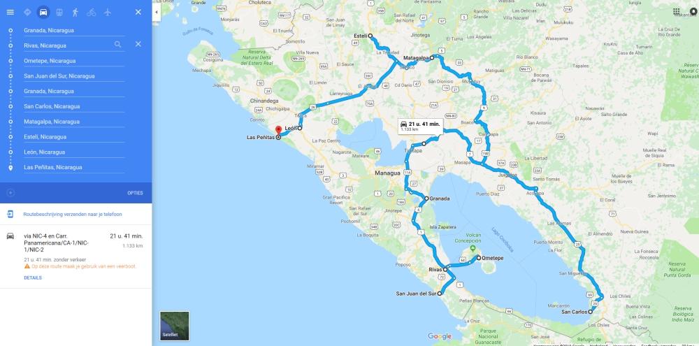 kaart met de route van onze rondreis Nicaragua