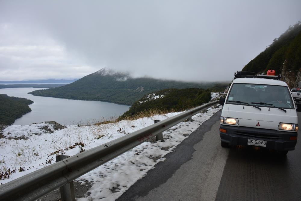 sneeuw op pas bij Ushuaia