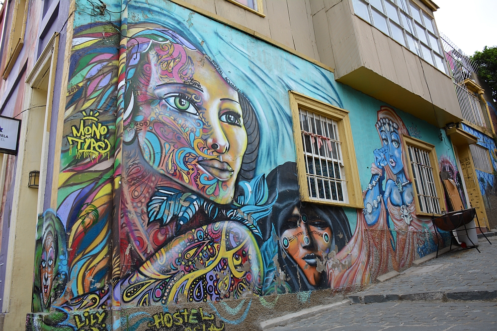 colorful Street art at Valparaiso Chile