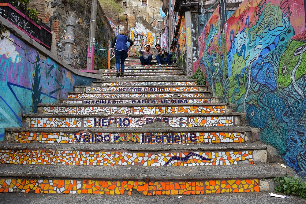 stairs with mosaïk at Valparaiso Chile