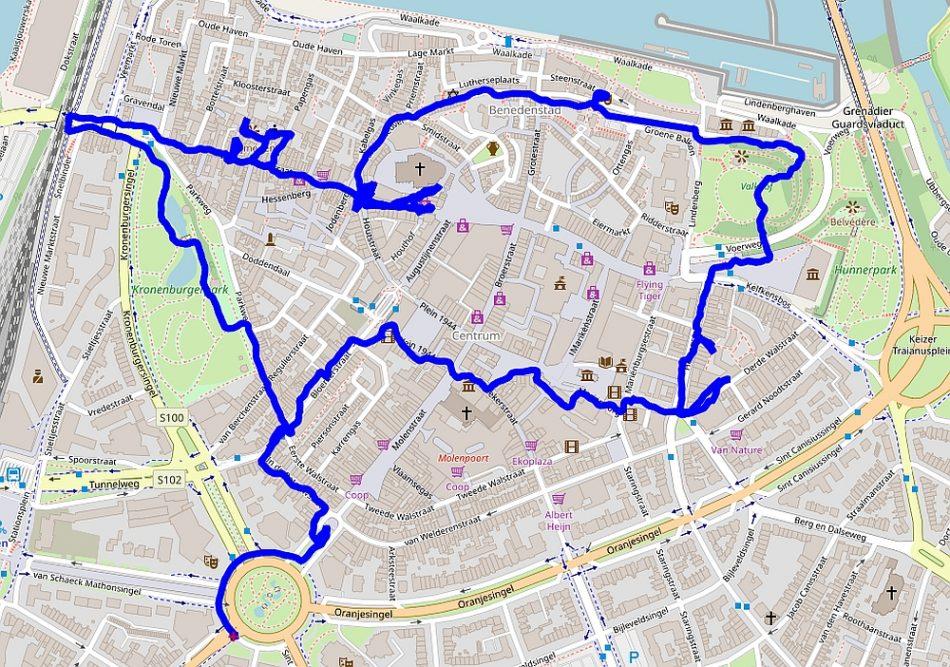 route stadswandeling centrum van Nijmegen van Myfootprints
