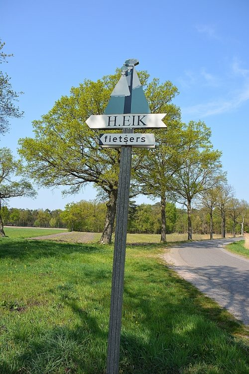 bordje Heilige Eik Oirschot op wandelroute