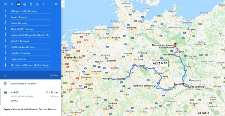Roadtrip Duitsland 3 weken routekaart
