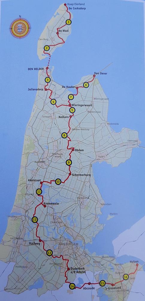 overzichtskaart Noord-Hollandpad op Myfootprints