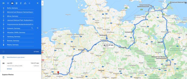 roadtrip door noorden van Duitsland routekaart