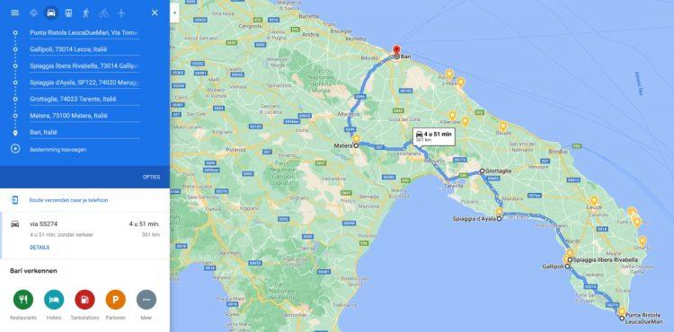 Roadtrip hak van Italië, Punta Ristola via Matera naar Bari ( 301 kilometer)