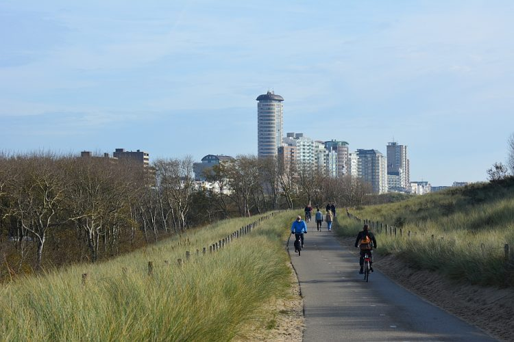 blik op Vlissingen vanaf het fietspad