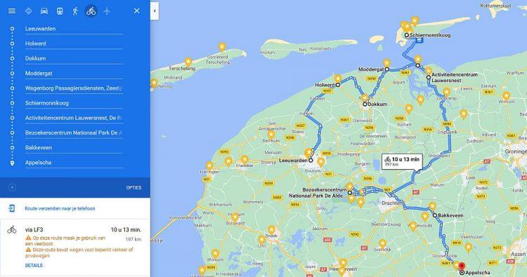 rondje Friesland route vanuit Leeuwarden