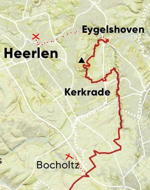 Dutch Mountain Trail Kaart etappe 1 Eygelshoven naar Bocholtz inclusief overnachten
