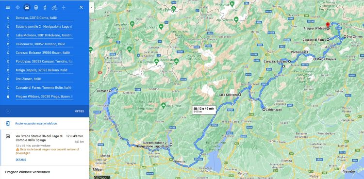 Route Noord Italië routekaart, stops en bezienswaardigheden Myfootprintsnl