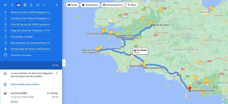 route Bretagne Frankrijk Huelgoat naar Carnac