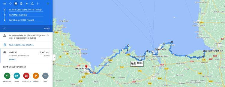 route Bretagne Frankrijk Mont Saint Michel naar Brieuc