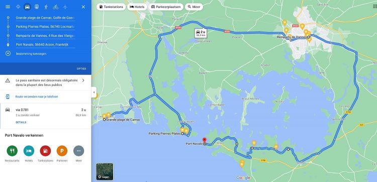 routekaart Bretagne Frankrijk Carnac naar golf van Morbihan